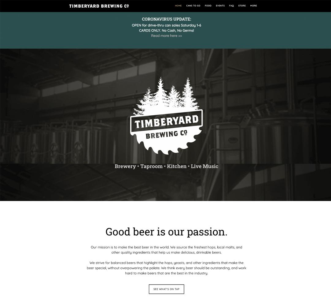 Timberyard Brewing Co - Website Design